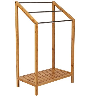 Mind Reader Three Tier Freestanding Bamboo Towel Drying Rack