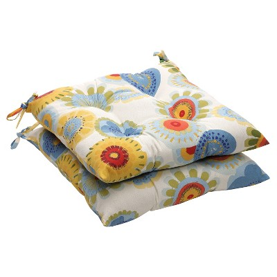 Outdoor 2 Piece Tufted Chair Cushion Set   Blue/White/Yellow Floral