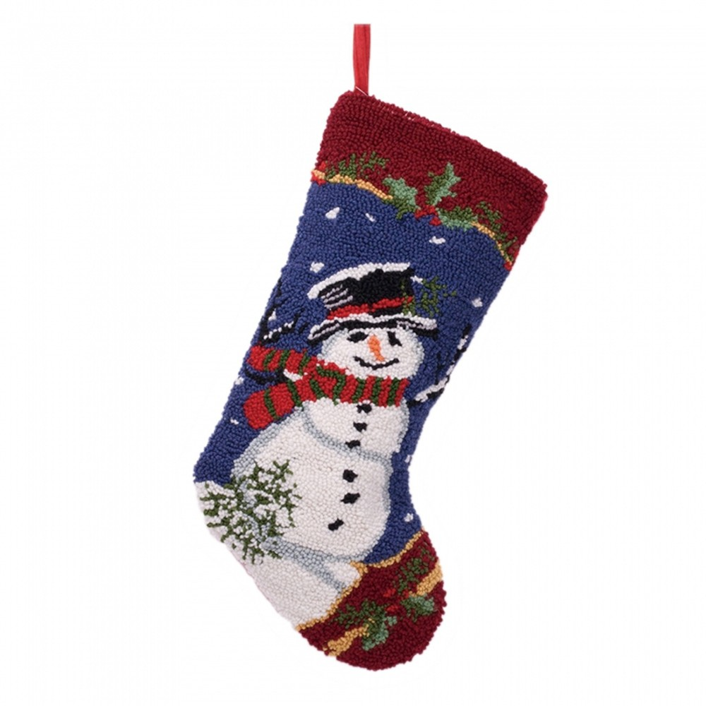 Image of Snowman Hooked Christmas Stocking - Glitzhome