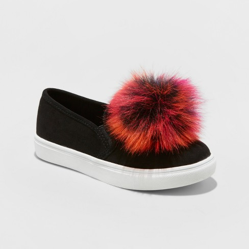 Girls' Stevies #BRIGHTEYED Pom Pom Sneakers - Black - image 1 of 3