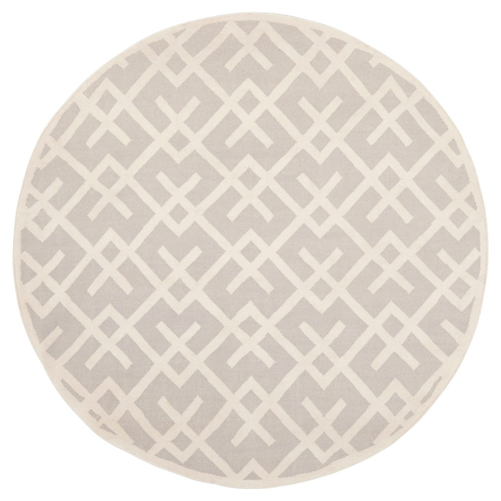 Tangier Dhurry Area Rug - Gray/Ivory (8' Round) - Safavieh
