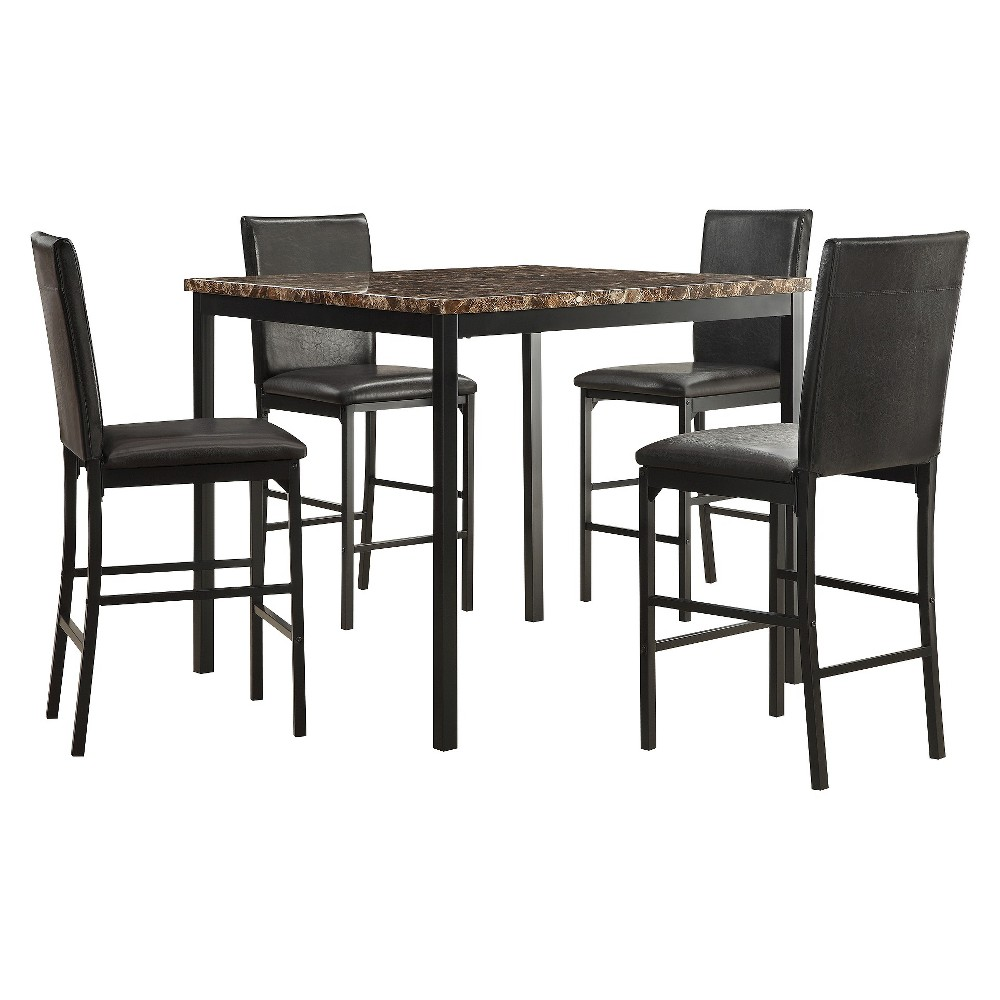 5 Piece Devoe Faux Marble Counter Height Dining Set Black - Inspire Q