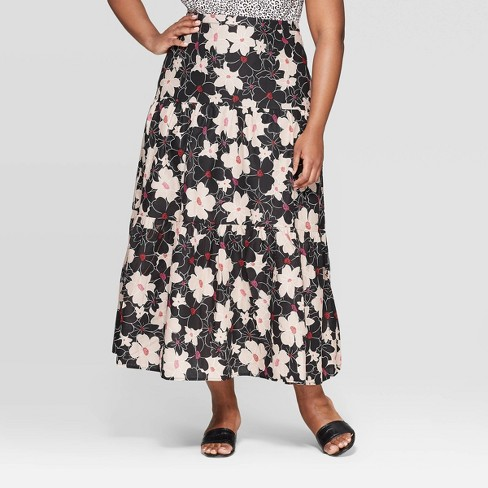 aaf21f7ba0 Women's Plus Size Floral Print Mid-Rise Tiered Maxi Skirt - Who What Wear™  Black : Target