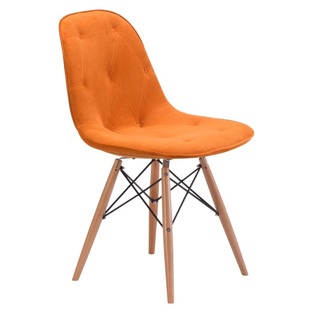 Incredible Modern Wood And Velour Dining Chair Orange Zm Home Short Links Chair Design For Home Short Linksinfo