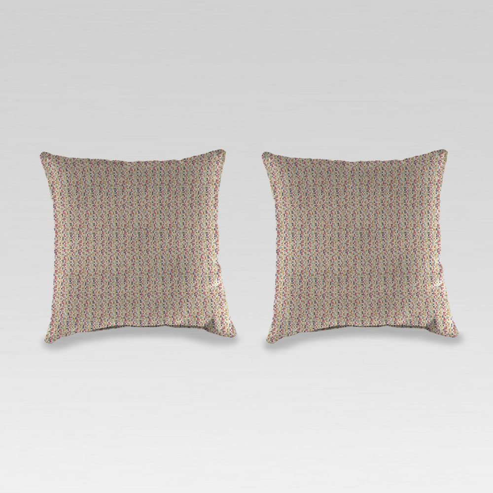Outdoor Set of 2 Accessory Toss Pillows - Beige with Dots - Jordan Manufacturing
