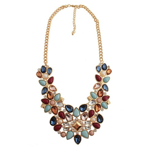 "Women's Fashion Statement Necklace with Stones (18"") - image 1 of 2"