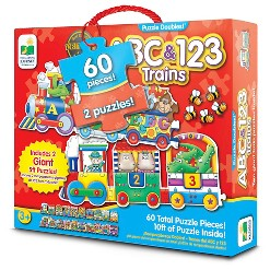 The Learning Journey Puzzle Doubles, Giant ABC & 123 Train Floor Puzzles 60pc