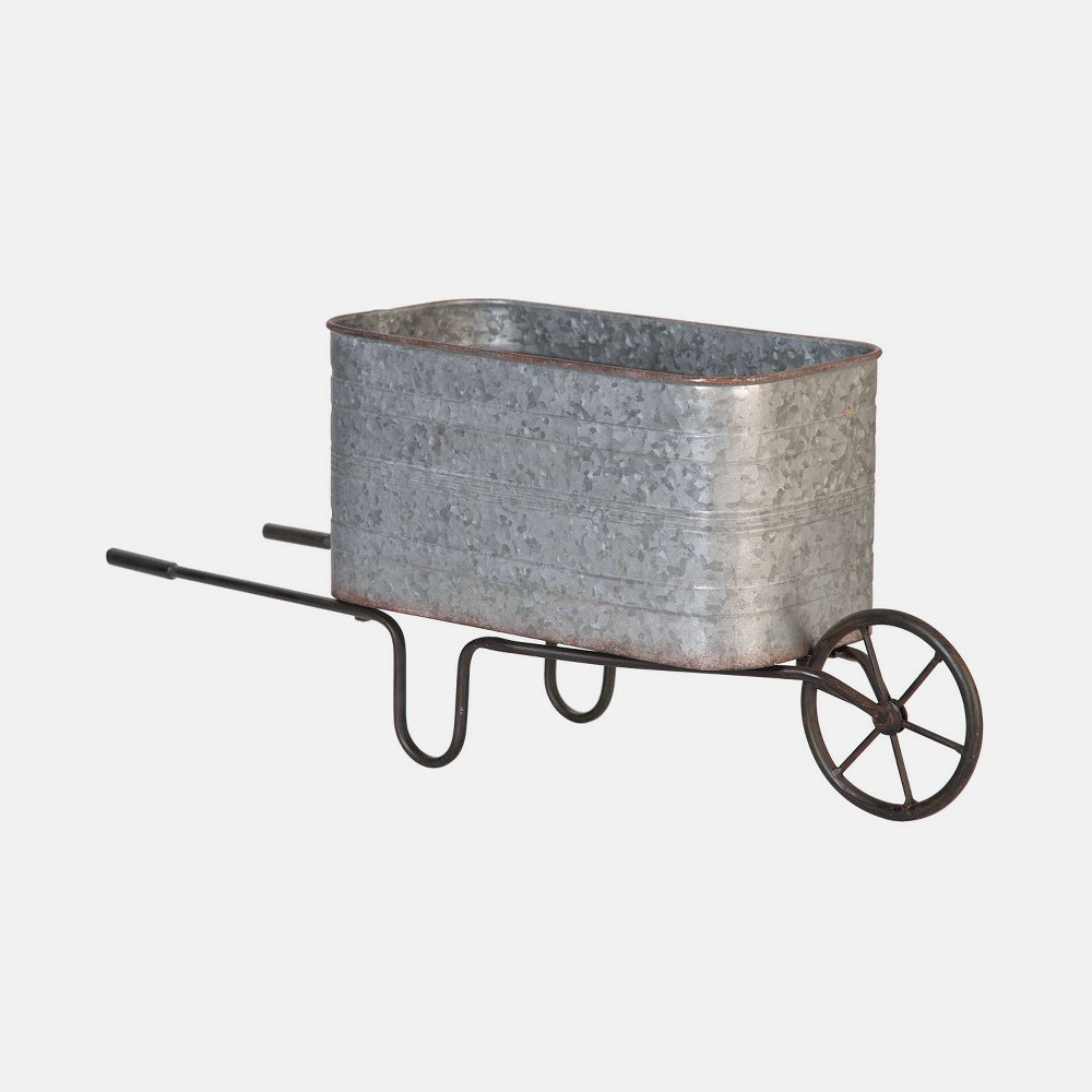 9 Metal Garden Cart Silver - Foreside Home & Garden Give your yard even more personality with the Garden Cart from Foreside Home and Garden. This lovely metal cart is simple, yet splendid, and its gentle design provides a unique and delightful display. Color: Silver.