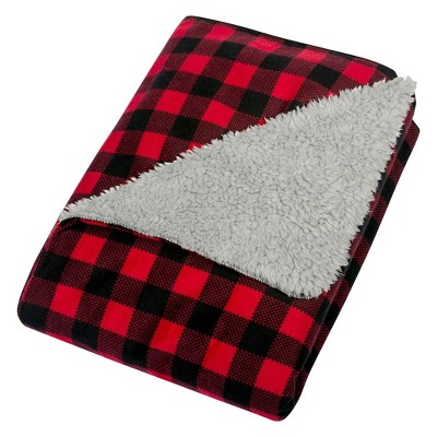 Trend Lab Flannel and Faux Shearling Baby Blanket - Red/Black