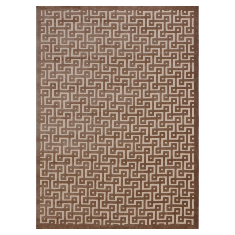 "Image of ""Nourison Geometric Ladder Ultima Accent Rug - Ivory/Mocha (Ivory/Brown) (2'2""""X3'9"""")"""
