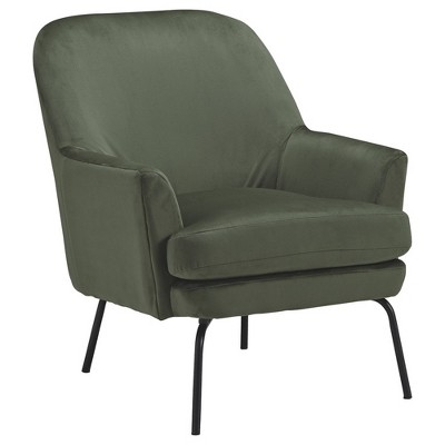 Fabric Accent Chair with Sleek Flared Track Arms and Metal Legs - Benzara