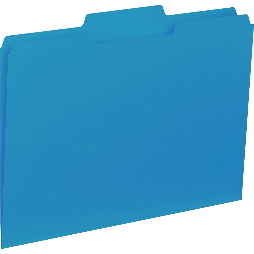 Image of Business Source 100ct 1/3 Cut Colored Interior File Folders - Blue
