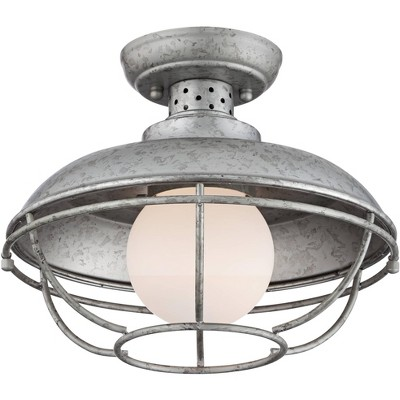 """Franklin Iron Works Rustic Farmhouse Outdoor Ceiling Light Galvanized Steel Cage 12"""" White Glass Orb for Exterior House Porch"""