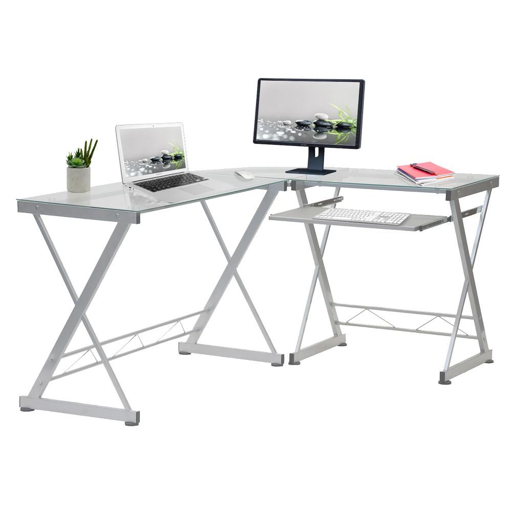 L Shaped Computer Desk Silver Clear Techni Mobili