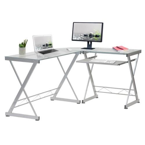 L-Shaped Computer Desk Silver/Clear - Techni Mobili