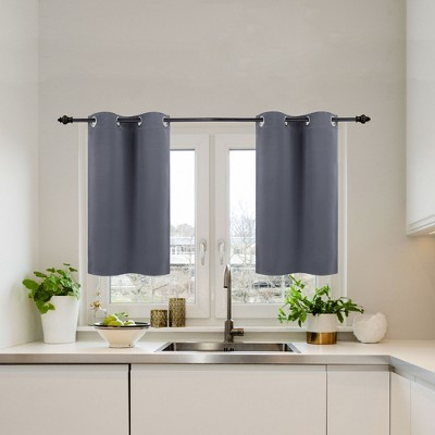 2 Pcs Polyester Blockout Solid color Curtain Tiers - PiccoCasa