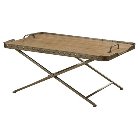Wooden Top Folding Coffee Table In A Metal Frame With Removable Tray Natural Wood Stylecraft