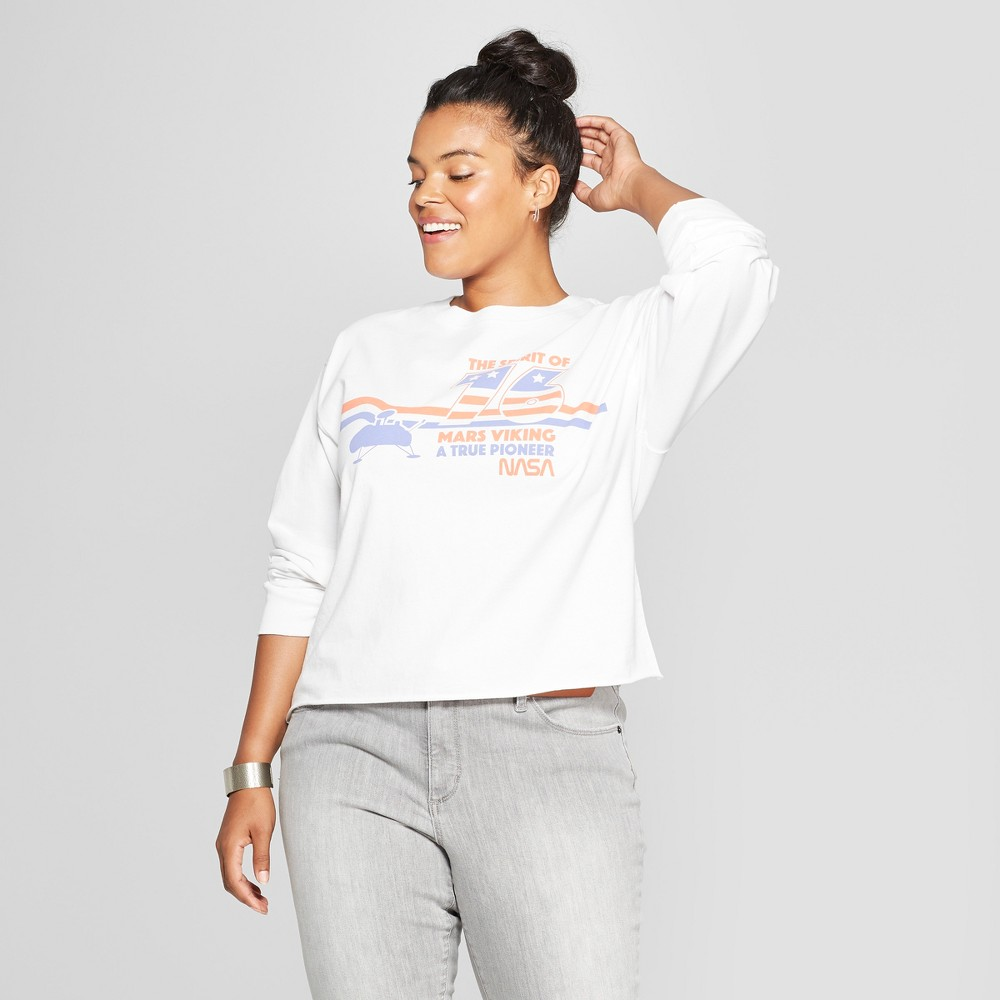 Women's Nasa Plus Size Cropped Graphic Short Sleeve T-Shirt (Juniors') White 3X