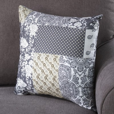 """Lakeside 16"""" Farmhouse Patchwork Style Accent Pillow with Rustic Pattern"""
