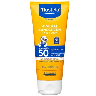 Mustela Fragrance Free Mineral Baby Sunscreen Lotion SPF 50 - 3.38 fl oz