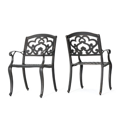 Austin 2pk Cast Aluminum Dining Chairs   Shiny Copper   Christopher Knight  Home