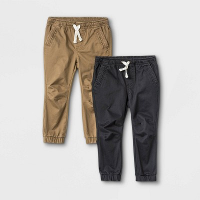 Toddler Boys' 2pk Knit and Woven Pull-On Jogger Chino Pants - Cat & Jack™ Charcoal Gray/Tan