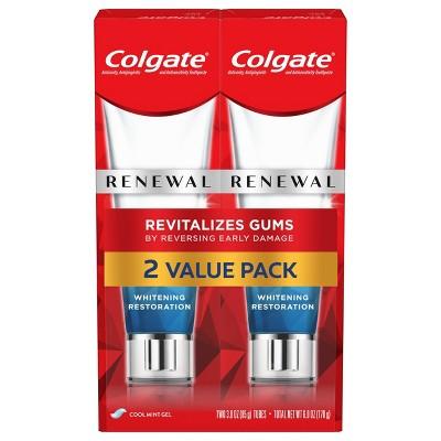 Colgate Renewal Revitalizing Gum Toothpaste & Whitening Restoration - Cool Mint Gel - 3oz