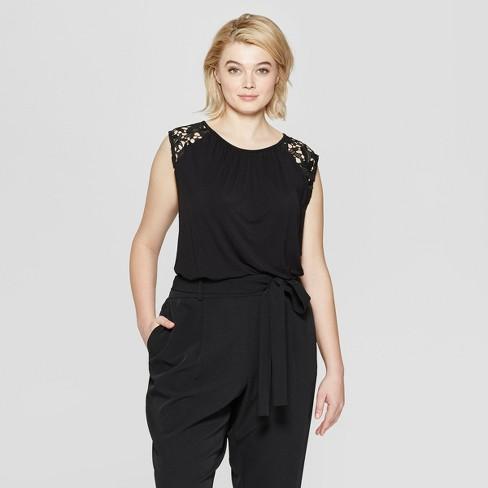 a2ac1850c91 Women s Plus Size Short Sleeve Crew Neck Lace T-Shirt - Ava   Viv ...