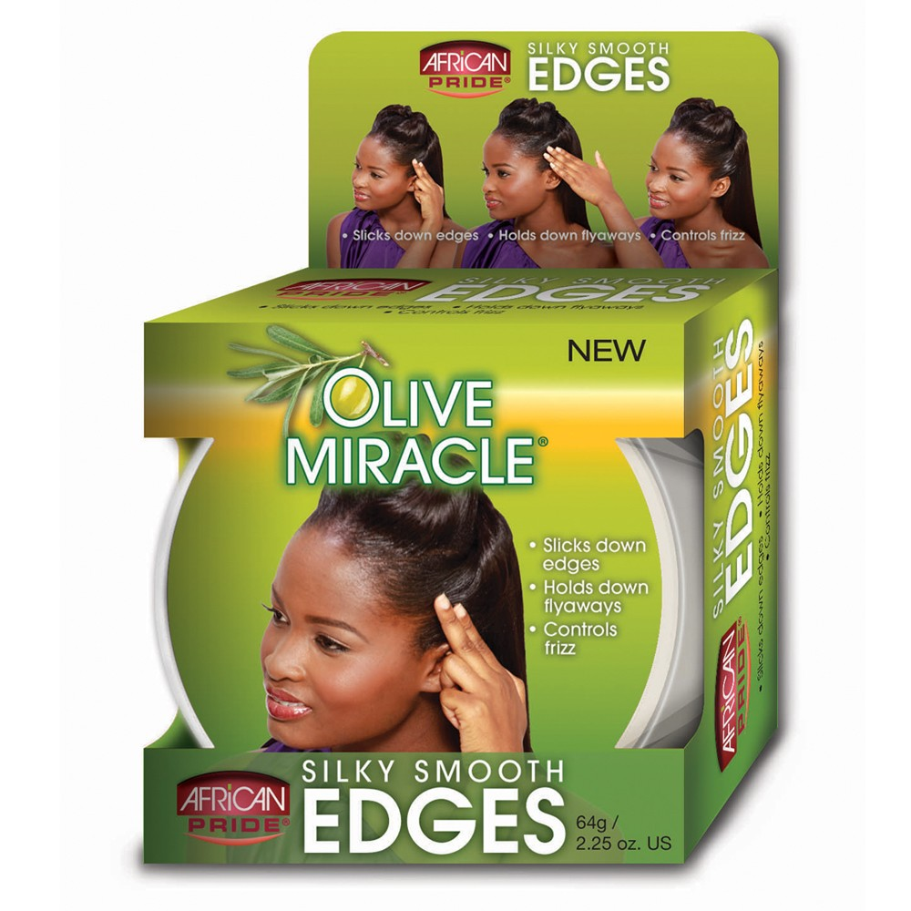 Image of African Pride Olive Miracle Silky Smooth Edges Conditioning Gel - 2.25oz