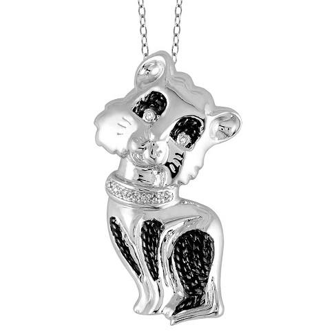 """Women's Sterling Silver Accent Round-Cut White Diamond Pave Set Cat Pendant - White (18"""") - image 1 of 2"""