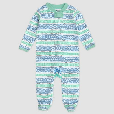 Honest Baby Organic Cotton Pajama Jumpsuit - Teal 3-6M