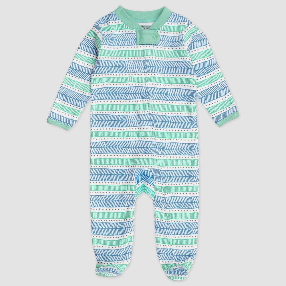 Honest Baby Organic Cotton Pajama Jumpsuit Teal Newborn