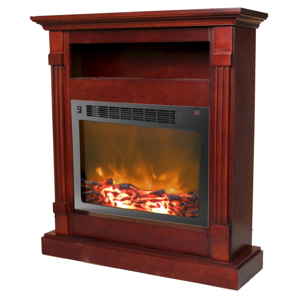 Cambridge CAM3437-1MAH Sienna Fireplace Mantel with Electronic Fireplace Insert, Mahogany (Brown)