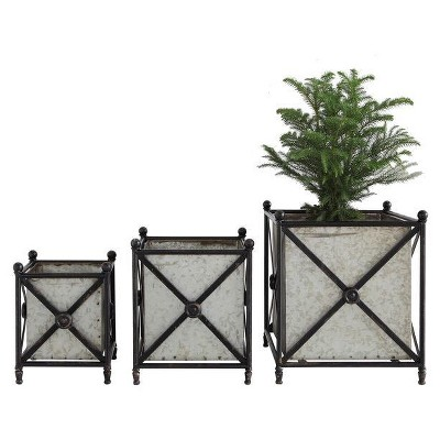 Metal Flower Boxes with Stands - Set of 3 - 3R Studios