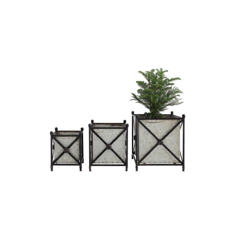 Metal Flower Boxes with Stands - Set of 3 - 3R Studios, Black