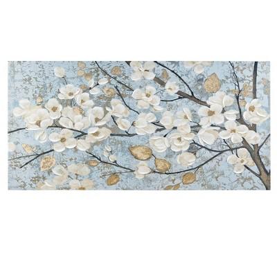 "39"" x 19"" Luminous Bloom Gold Foil Floral Hand Embellished Canvas Art Blue"