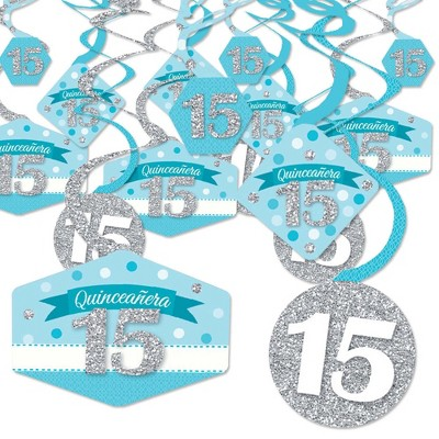 Big Dot of Happiness Quinceanera Teal - Sweet 15 - Birthday Party Hanging Decor - Party Decoration Swirls - Set of 40