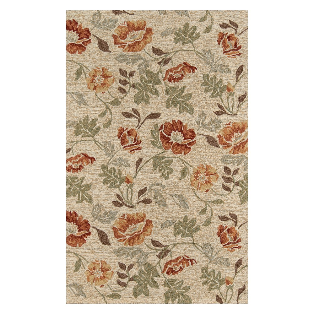 8'X10' Floral Hooked Area Rug Sand (Brown) - Momeni