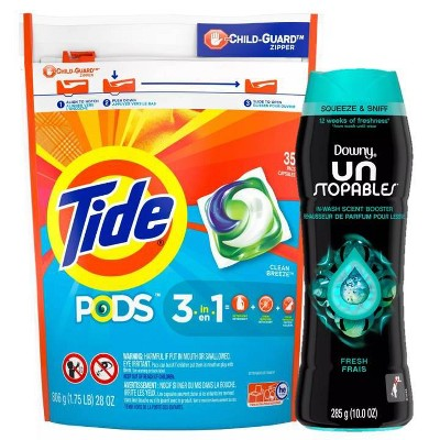 Tide Pods Clean Breeze Laundry Detergent Pacs, Downy Unstopables In-Wash Fresh Scented Booster Beads - Bundle