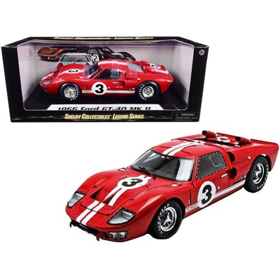 1966 Ford GT-40 MK II #3 Red with White Stripes Le Mans 1/18 Diecast Model Car by Shelby Collectibles