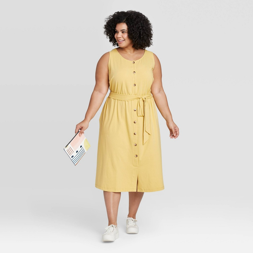 Women's Plus Size Sleeveless Button-Front Knit Midi Dress - Ava & Viv Yellow X was $29.99 now $20.99 (30.0% off)
