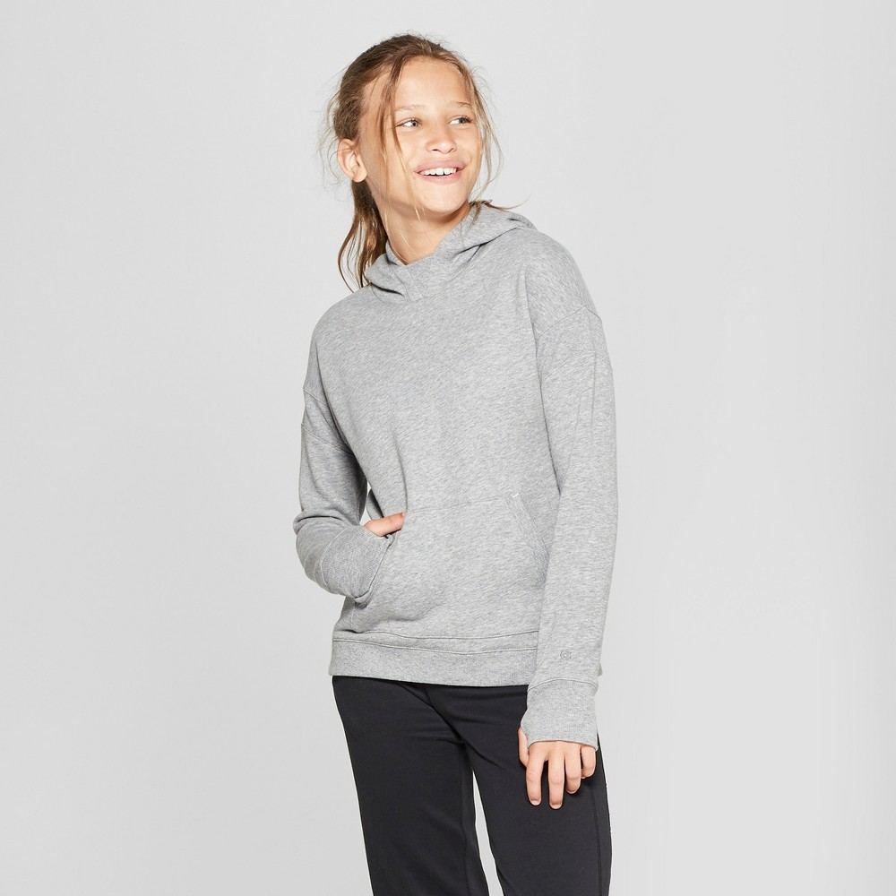 Girls' Authentic Fleece Sweatshirt Pullover Hoodie - C9 Champion Light Gray Heather XS