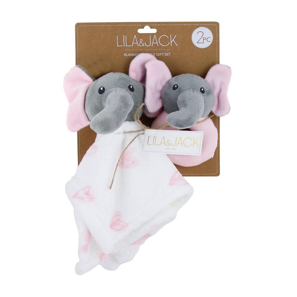 Image of Lila and Jack Elephant Lovey & Rattle Gift Set