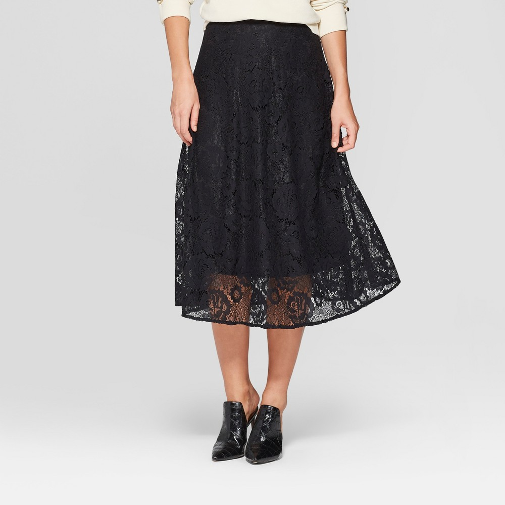 Women's Full Lace Midi Skirt - Who What Wear Black 16