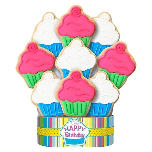 Cupcake Happy Birthday Cookie Bouquet 9 Arrangement