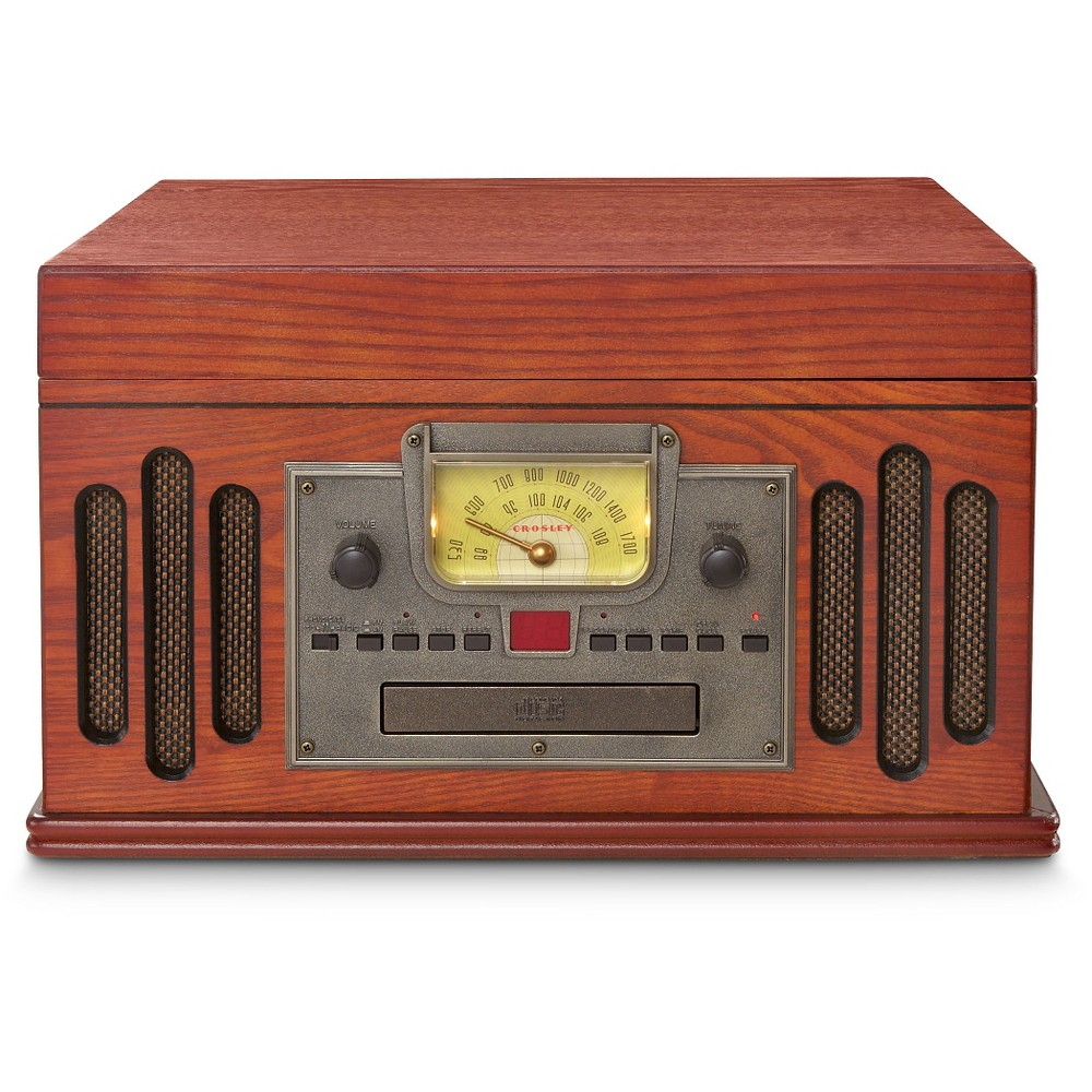Crosley Musician 5-in-1 Entertainment Center - Paprika (Red) (CR704C-PA) Vintage-inspired both in substance and style, the Musician is crafted from traditional Crosley standards developed not so long ago. Crafted of hardwoods and veneers, all can appreciate the combination of sophisticated stylings married with modern day conveniences. Includes analog AM/FM radio, programmable CD player, cassette deck and a 3-speed turntable. If that is not enough, check out 'portable' tunes with our portable audio ready feature. Just connect any portable device with included hardware and prepare yourself for a unique listening experience. Color: Paprika.