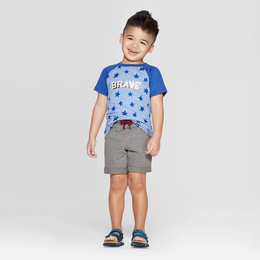 Toddler Boys' 2pc Raglan T-Shirt and Shorts Set - Cat & Jack Blue/Gray 12M
