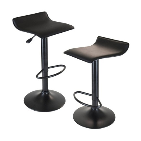 Obsidian Set of 2 Adjustable Swivel Air Lift Stool, Backless,  Pvc Seat,  Metal Post and Base - Black - Winsome - image 1 of 3