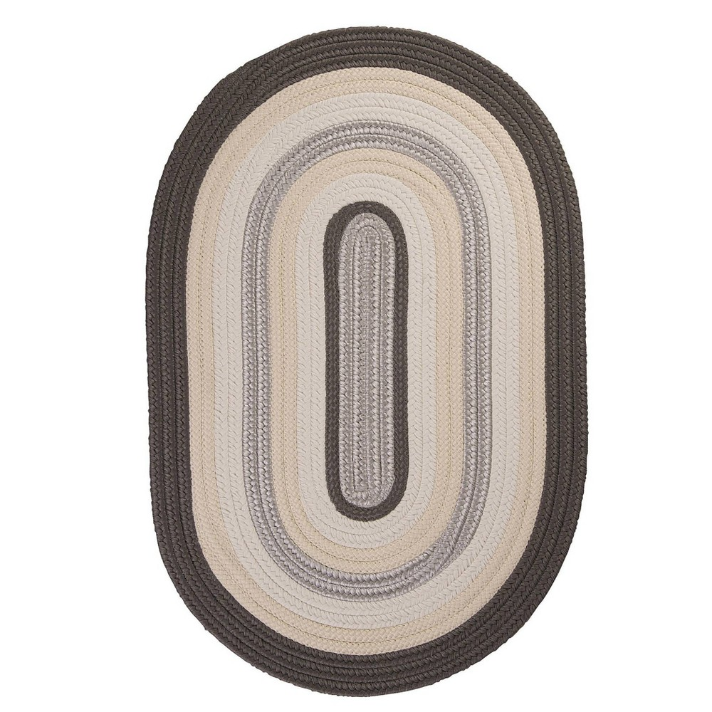 Oval Mountain Top Braided Area Rug Gray