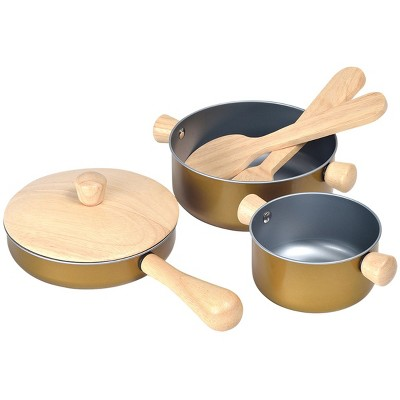 Plan Toys Pretend Play Cooking Pans and Utensils Set - 6 pcs.